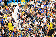 Leeds United striker Pierre-Michel Lasogga (9) scores a goal to make the score 5-0 and celebrates during the EFL Sky Bet Championship match between Leeds United and Burton Albion at Elland Road, Leeds, England on 9 September 2017. Photo by Richard Holmes.