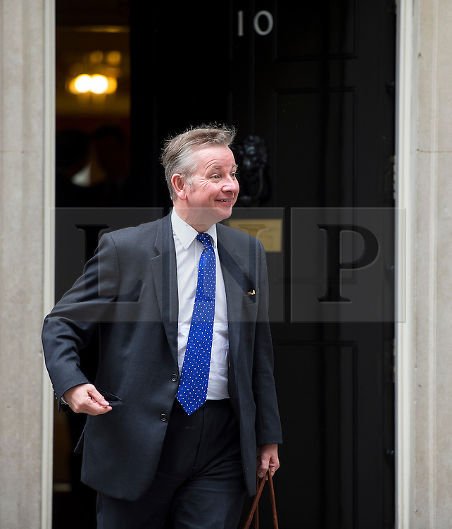 © Licensed to London News Pictures. 02/06/2015. Westminster, UK. Secretary of State for Justice MICHAEL GOVE leaving Number 10 Downing Street in London following a cabinet meeting. Photo credit: Ben Cawthra/LNP