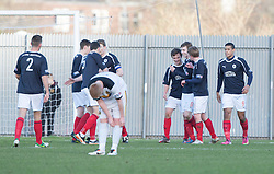 Falkirk's Thomas Grant (7) cele scoring their first goal..half time : Dumbarton v Falkirk, 23/2/2013..©Michael Schofield.