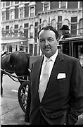 10/09/1962<br /> 09/10/1962<br /> 10 September 1962<br /> Picture Of I.A.T.A. delegate Mr Laker outside the Shelbourne Hotel, Dublin, with a horse and cab behind.