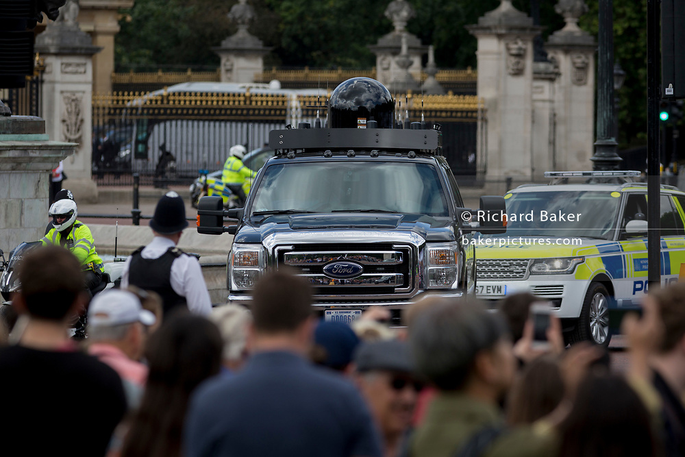 On US President Donald Trump's first day of a controversial three-day state visit to the UK by the 45th American President, an Electronic Counter-Measures vehicle, part of his Presidential cavalcade drives past Buckingham Palace, on 3rd June 2019, in London England.