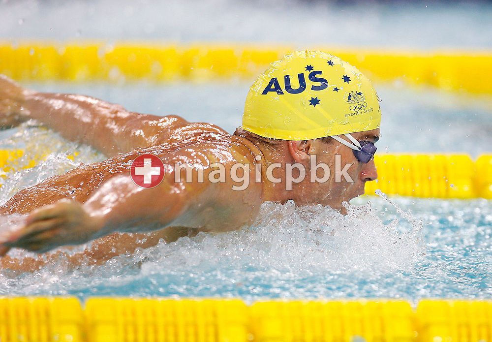 Adam PINE of Australia swims the Butterfly leg of the men's 4x100m Medley Relay heat during day five of the 8th FINA World Swimming Championships (25m) held at Qi Zhong Stadium April 9th, 2006 in Shanghai, China. (Photo by Patrick B. Kraemer / MAGICPBK)