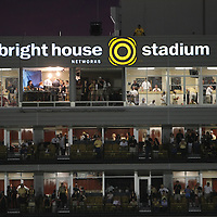 The pressbox during an NCAA football game between the Boston College Eagles and the UCF Knights at Bright House Networks Stadium on Saturday, September 10, 2011 in Orlando, Florida. (AP Photo/Alex Menendez)