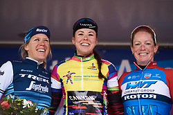 Top three in the GC, Lisa Klein (GER), Ellen van Dijk (NED) and Kirsten Wild (NED) at Healthy Ageing Tour 2019 - Stage 5, a 124.3 km road race in Midwolda, Netherlands on April 14, 2019. Photo by Sean Robinson/velofocus.com