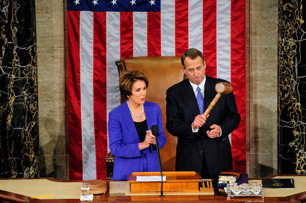 Rep. John Boehner (R-OH) holds the gavel after receiving it from Rep. Nancy Pelosi (D-CA) and being elected to a second term as Speaker of the House with 220 votes at the U.S. Capitol in Washington, District of Columbia, U.S., on Thursday, Jan. 3, 2013. Twelve GOP lawmakers either opposed him, voted present or abstained. The 133th Congress begins Thursday with the swearing in of newly elected Members of Congress and the election of the Speaker of the House of Representatives. Photographer: Pete Marovich/Bloomberg