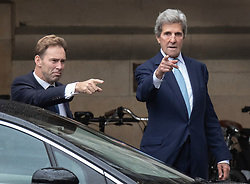 CAPTION CORRECTION © Licensed to London News Pictures. 21/10/2019. London, UK. Conservative MP Tobias Ellwood (L) walks with former US Secretary of State John Kerry at Parliament. Prime Minister Boris Johnson will attempt to secure a vote on his new EU withdrawal agreement this week. Photo credit: Peter Macdiarmid/LNP