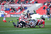 Both sets of players pile in during the EFL Sky Bet League 2 match between Doncaster Rovers and Colchester United at the Keepmoat Stadium, Doncaster, England on 15 October 2016. Photo by Simon Davies.