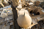 Egypt . Cairo : the Qalawun complex. minarets of An Nasr  and qalawun the old islamic city.,view from the minaret of the madrasa of As Zahir BARQUQ  mosque  in Al Mu'izz street .Cairo
