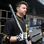 Chris Stewart, Pittsburgh Pirates, in the dugout preparing to bat during the New York Mets Vs Pittsburgh Pirates MLB regular season baseball game at Citi Field, Queens, New York. USA. 16th August 2015. Photo Tim Clayton