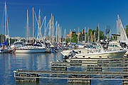 Sailboats at marina in Port Dalhouise<br /> St. Catharines<br /> Ontario<br /> Canada