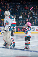 KELOWNA, CANADA - JANUARY 18: The Pepsi Player lines up with Michael Herringer #30 of the Kelowna Rockets against the Moose Jaw Warriors on January 18, 2017 at Prospera Place in Kelowna, British Columbia, Canada.  (Photo by Marissa Baecker/Shoot the Breeze)  *** Local Caption ***
