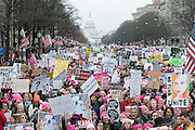 The Trump era got off to a rousing start with the massive Women's march, one of the largest single day demonstrations in American history. Demonstrations took place in cities around the world. The largest took place with an estimated 500,000 marching in the nation's capital where the day before Donald Trump became the 45th president.