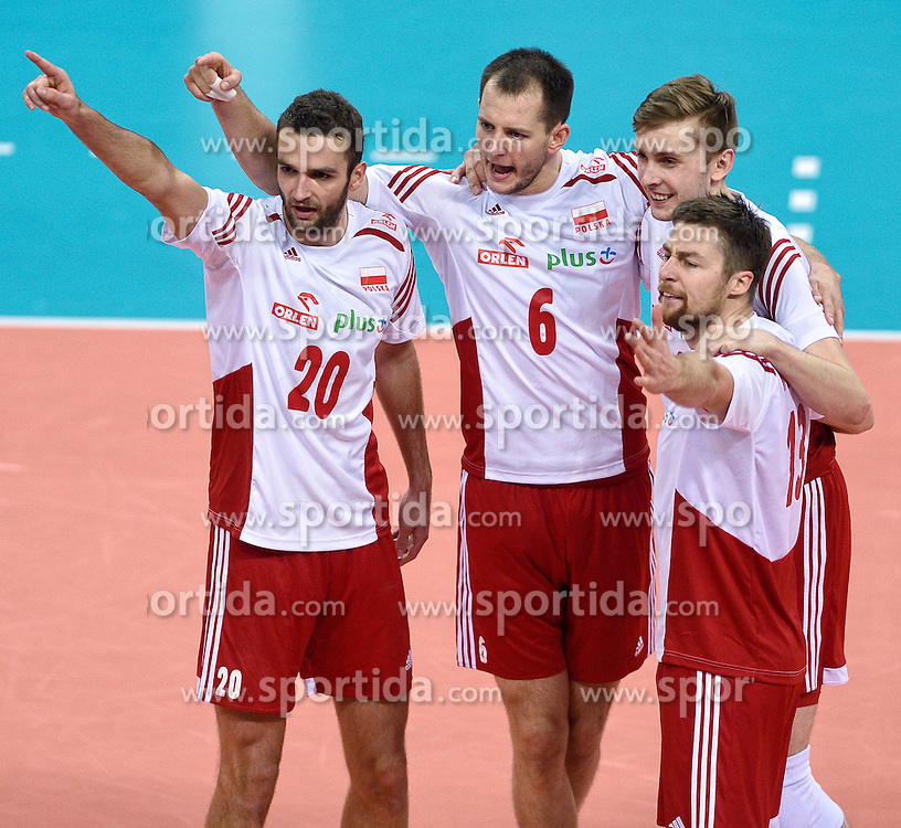 Mateusz Mika #20, Bartosz Kurek #6, Mateusz Bieniek #9, Michal Kubiak #13 during volleyball match between National teams of Poland and Slovenia in Quarterfinals of 2015 CEV Volleyball European Championship - Men, on October 14, 2015 in Arena Armeec, Sofia, Bulgaria. Photo by Ronald Hoogendoorn / Sportida