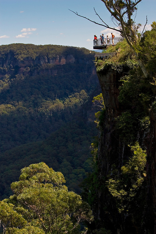 Tourists on viewpoint Echo Point Blue Mountains National Park, Katoomba, Australia.