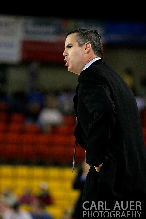 25 November 2005: ORU Head Coach Scott Sutton disputes a call in Oral Roberts loss to Marquette University 70-73 at the Great Alaska Shootout in Anchorage, Alaska