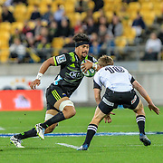 Ardie Savea during the Super Rugby union game between Hurricanes and Sunwolves, played at Westpac Stadium, Wellington, New Zealand on 27 April 2018.   Hurricanes won 43-15.