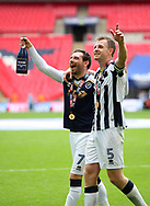 Millwall midfielder David Worrall and Millwall defender Tony Craig celebrate after the Sky Bet League 1 play-off final win at Wembley Stadium, London<br /> Picture by Glenn Sparkes/Focus Images Ltd 07939664067<br /> 20/05/2017