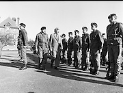 50th Infantry Batallion Depart for Lebanon.   (N97)..1981..15.10.1981..10.15.1981..15th October 1981..Before departure to Lebanon, the 50th Infantry Batallion was inspected by An Taoiseach, Dr Garret Fitzgerald and Lieut_Col Gerry Enright OC 50th Infantry Batallion. Dr Fitzgerald was accompanied by the Minister for Defence, Mr James Tully TD...Image shows An Taoiseach, Dr Garret Fitzgerald, inspecting the troops prior to there departure to Lebanon.