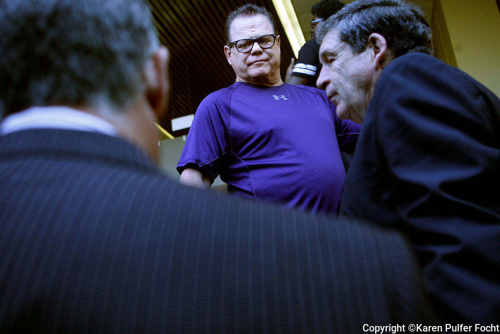 """Memphis wrestling icon JERRY """"The King"""" LAWLER (left) made an appearance in court at the Criminal Justice Center Monday morning with his lawyers. He was released from the Shelby County Jail on Friday after he was arrested overnight on a domestic violence charge. Lawler, 66, and his fiancée LAURYN MCBRIDE, 27, were charged with domestic assault after an incident Thursday night at Lawler's home in East Memphis.  Lawler has been suspended indefinitely by WWE, in a statement posted on their website."""