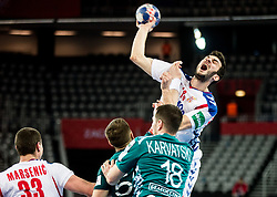 Petar Nenadic of Serbia during handball match between National teams of Serbia and Belarus on Day 7 in Main Round of Men's EHF EURO 2018, on January 24, 2018 in Arena Zagreb, Zagreb, Croatia.  Photo by Vid Ponikvar / Sportida
