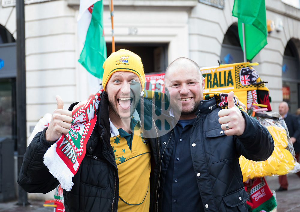 Australia fans enjoying the pre match atmosphere<br /> <br /> Photographer Simon King/Replay Images<br /> <br /> Under Armour Series - Wales v Australia - Saturday 10th November 2018 - Principality Stadium - Cardiff<br /> <br /> World Copyright © Replay Images . All rights reserved. info@replayimages.co.uk - http://replayimages.co.uk