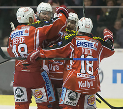 22.11.2013, Stadthalle, Klagenfurt, AUT, EBEL, EC KAC vs EC Red Bull Salzburg, 38. Runde, im Bild Florian Iberer (Kac, #48), Mike Siklenka (Kac, #23), John Lammers (Kac, #20), Thomas Koch (Kac, #18)// during the Erste Bank Icehockey League 38th Round match betweeen EC KAC and EC Red Bull Salzburg at the City Hall, Klagenfurt, Austria on 2013/10/22. EXPA Pictures © 2013, PhotoCredit: EXPA/ Gert Steinthaler
