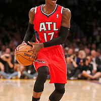 03 November 2013: Atlanta Hawks point guard Dennis Schroder (17) looks to pass the ball during the Los Angeles Lakers 105-103 victory over the Atlanta Hawks at the Staples Center, Los Angeles, California, USA.