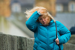 © London News Pictures. 29/01/2016 Aberystwyth, Wales, UK. Storm Gertrude hits Aberystwyth on the west coast of Wales making life difficult for pedestrians on their way to work. Amber and Red  weather warnings are in place for many western  and northern parts of the UK, with winds expected to gust up to 100mph in the Shetland Islands in the extreme north of Scotland. Photo credit: Keith Morris/LNP