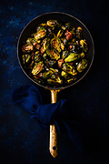 overhead shot of roasted brussels sprouts with bacon