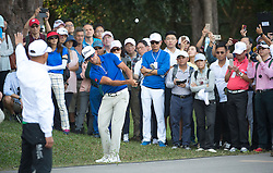 December 10, 2016 - Hong Kong, Hong Kong SAR, China - Rafa Cabrera Bello (pictured hitting out of the crowd towards the 13th green) from Spain is tied on 11 under para with Australia's Sam Brazel as they go into the final.Day 3 of the Hong Kong Open Golf at the Hong Kong Golf Club Fanling..© Jayne Russell. (Credit Image: © Jayne Russell via ZUMA Wire)