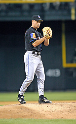 Phoenix, AZ-05-12-04 New York Mets pitcher Tom Glavine winds up in a 1-0 victory over the Arizona Diamondbacks. Glavin pitched 7.2 innings with 3 hits and no runs. Ross Mason photo