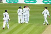 Tony Palladino is congratulated on getting his 5th wicket during the Specsavers County Champ Div 2 match between Leicestershire County Cricket Club and Derbyshire County Cricket Club at the Fischer County Ground, Grace Road, Leicester, United Kingdom on 28 May 2019.