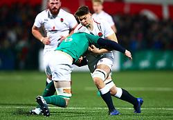 Aaron Hinkley of England U20 is tackled by Martin Moloney of Ireland U20 - Mandatory by-line: Ken Sutton/JMP - 01/02/2019 - RUGBY - Irish Independent Park - Cork, Cork - Ireland U20 v England U20 -