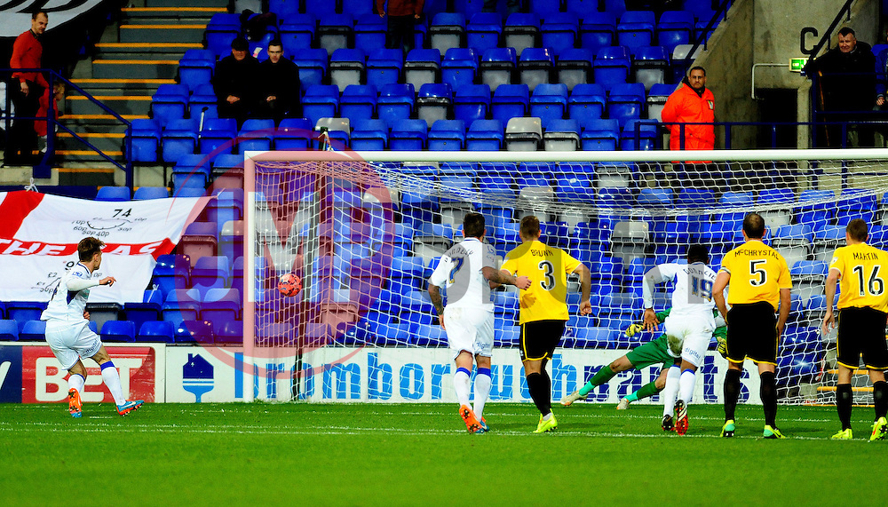 Tranmere Rovers's Max Power scores the penalty - Photo mandatory by-line: Neil Brookman/JMP - Mobile: 07966 386802 - 08/11/2014 - SPORT - Football - Birkenhead - Prenton Park - Tranmere Rovers v Bristol Rovers - FA Cup - Round One