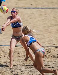 23-08-2019 NED; DELA NK Beach Volleyball Qualification, Scheveningen<br /> First day NK Beachvolleyball / (L-R) Kirsten van der Lecq, <br /> Loladina Zwaanswijk