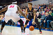 DALLAS, TX - JANUARY 04:  Alani Moore II #2 of the Temple Owls brings the ball up court against Ben Emelogu II #21 of the SMU Mustangs during a basketball game on January 4, 2017 at Moody Coliseum in Dallas, Texas.  (Photo by Cooper Neill/Getty Images) *** Local Caption *** Alani Moore II; Ben Emelogu II