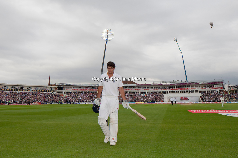 Alastair Cook walks off, out for 294, in the third npower Test Match between England and India at Edgbaston, Birmingham.  Photo: Graham Morris (Tel: +44(0)20 8969 4192 Email: sales@cricketpix.com) 12/08/11