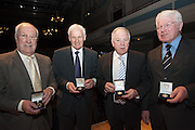 Dundee league champions  Bobby Waddell, Alex Stuart, and Craig Brown finally get their medals, while Dundee FC Supporters Society Director Dave Forbes holds George McGeachie's - The Scottish League agreed to give medals to the Championship season fringe players as well as physio Lawrie Smith - none of whom were presented with medals for their part in Dundee's League win in 1962 - Dundee FC 50th Anniversary of 1962 League Championship win Dinner at the Caird Hall..© David Young - 5 Foundry Place - Monifieth - DD5 4BB - Telephone 07765 252616 - email: davidyoungphoto@gmail.com - web: www.davidyoungphoto.co.uk