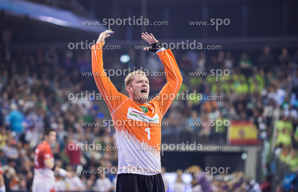Berlin, Deutschland, 17.05.2015:<br />Handball EHF Pokal Finale 2014 / 2015 - Fuechse Berlin - HSV Hamburg - EHF CUP Finals 2014/15.<br /><br />Torwart Johannes Bitter (HSV #1) *** Local Caption *** &Acirc;&copy; pixathlon