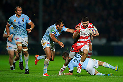 Gloucester Winger (#14) Jonny May is tackled by Perpignan replacement (#20) Dewaldt Duvenage and replacement (#21) David Marty during the second half of the match - Photo mandatory by-line: Rogan Thomson/JMP - Tel: 07966 386802 - 12/10/2013 - SPORT - RUGBY UNION - Kingsholm Stadium, Gloucester - Gloucester Rugby v USA Perpignan - Heineken Cup Round 1.