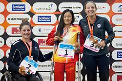 DUBBER Rebecca, ZHANG Ying, JORDAN Cortney NZL, CHN, USA at 2015 IPC Swimming World Championships -  Women's 100m Backstroke S7
