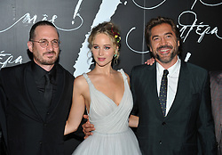 NEW YORK, NY - September 13: Jennifer Lawrence attend the premiere of 'mother!' at Radio City Music Hall on September 13, 2017 in New York City. in New York City. 13 Sep 2017 Pictured: Darren Aronofsky, Jennifer Lawrence, Javier Bardem. Photo credit: JP/MPI/Capital Pictures / MEGA TheMegaAgency.com +1 888 505 6342