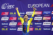 Podium, Women 500 mt Time trial, Olena Starikova (Ukraine) silver medal, during the Track Cycling European Championships Glasgow 2018, at Sir Chris Hoy Velodrome, in Glasgow, Great Britain, Day 5, on August 6, 2018 - Photo luca Bettini / BettiniPhoto / ProSportsImages / DPPI<br /> - Restriction / Netherlands out, Belgium out, Spain out, Italy out -
