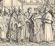 Maximilian I (1459-1519), Holy Roman Emperor from 1493. Maximilian meeting the embassy from Vasili (Basil) IV (1479-1533) son of Ivan III, Grand Prince of Russia from 1505.