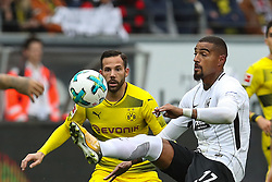 FRANKFURT, Oct. 22, 2017  Dortmund's Gonzalo Castro (L) vies with Frankfurt's Kevin-Prince Boateng during a German Bundesliga match between Eintracht Frankfurt and Borussia Dortmund, in Frankfurt, Germany, on Oct. 21, 2017. The match tied 2-2. (Credit Image: © Joachim Bywaletz/Xinhua via ZUMA Wire)