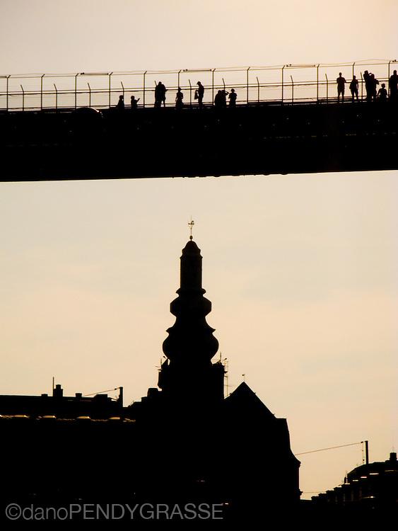 People on the sky bridge in Stockholm.