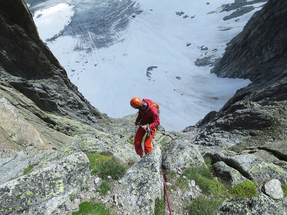 'Lunar Impulse', a granite climbing route near Furka Pass, Switzerland.