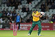 Matthew Carter of Nottinghamshire Outlaws is bowled by Patrick Brown of Worcestershire Rapids during the Vitality T20 Blast North Group match between Nottinghamshire County Cricket Club and Worcestershire County Cricket Club at Trent Bridge, West Bridgford, United Kingdon on 18 July 2019.