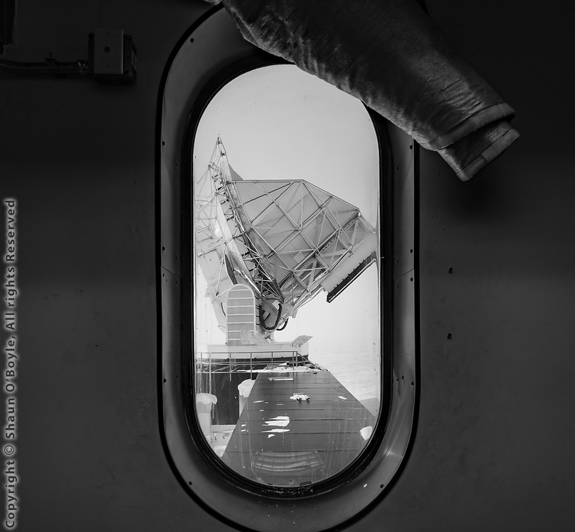 Looking out the Dark Sector Lab window at the South Pole Telescope
