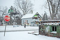 DETROIT, MICHIGAN - Photos of the Heidelberg Project, an outdoor art installation by Tyree Guyton, seen on a snowy January day in Detroit. (Photo by Bryan Mitchell)